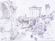 Ruins of Forum Romano in Rome